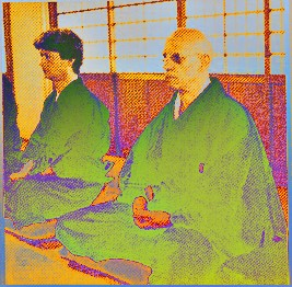 Michel Foucault pratising meditation in a Japanese Zen Temple